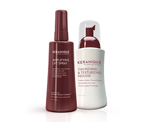 Keranique™ Fortifying Mousse & Keranique™ Lifting Spray Limp hair? Need some extra body? Complete your style with Keranique Fortifying Mousse and Lifting Spray for fuller, shinier, healthier-looking hair.