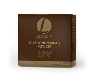 Enjoy the benefits of Luminique 90 Second Wrinkle Reducer wherever you go! With 30 individual take anywhere packettes, you can have visible anti-wrinkle results in just 90 seconds.